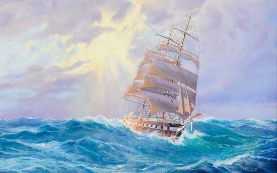 Волной качаемый корабль